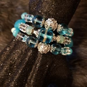 Hell's Belle Designs Jewelry - Blue Angel Protection Charm Glass Beaded Bracelet